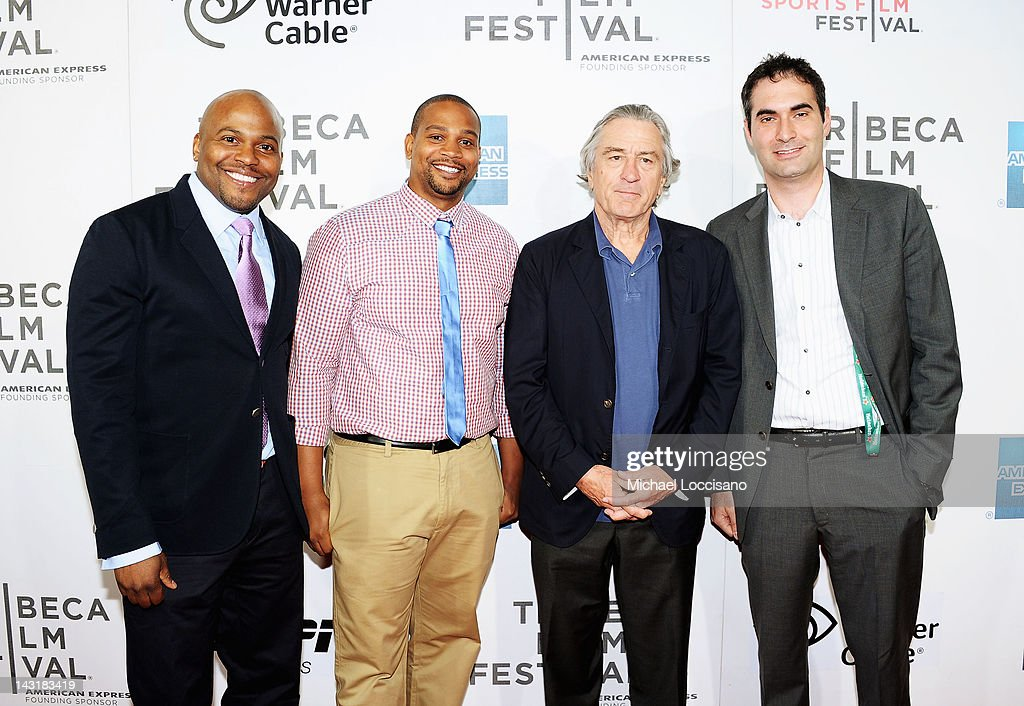 Directors Coodie Simmons and Chike Ozah, Robert De Niro, Co-Founder Tribeca Film Festival, and Vice President, ESPN Films, Connor Schell attend the Tribeca/ESPN Sports Film Festival Gala for Benji during the 2012 Tribeca Film Festival at the Borough of Manhattan Community College on April 20, 2012 in New York City.