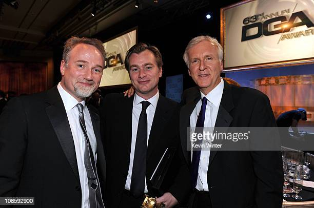 Directors David Fincher Christopher Nolan and James Cameron in the audience at the 63rd Annual Directors Guild Of America Awards held at the Grand...