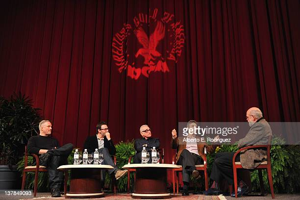 Directors David Fincher Michel Hazanavicius Martin Scorsese Alexander Payne and Jeremy Kagan speak onstage at the 63rd Annual Directors Guild Of...