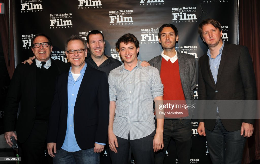 Directors <a gi-track='captionPersonalityLinkClicked' href=/galleries/search?phrase=David+O.+Russell&family=editorial&specificpeople=215306 ng-click='$event.stopPropagation()'>David O. Russell</a>, Rich Moore, Mark Andrews, Behn Zeitlin, <a gi-track='captionPersonalityLinkClicked' href=/galleries/search?phrase=Malik+Bendjelloul&family=editorial&specificpeople=8806036 ng-click='$event.stopPropagation()'>Malik Bendjelloul</a> and <a gi-track='captionPersonalityLinkClicked' href=/galleries/search?phrase=Tom+Hooper&family=editorial&specificpeople=681836 ng-click='$event.stopPropagation()'>Tom Hooper</a> attend the 28th Santa Barbara International Film Festival Directors Panel on January 26, 2013 in Santa Barbara, California.