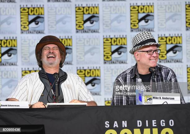 Directors David Silverman and Mike B Anderson attend 'The Simpsons' panel during ComicCon International 2017 at San Diego Convention Center on July...