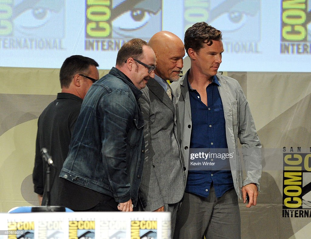 Directors Eric Darnell and Simon J. Smith, actors John Malkovich and Benedict Cumberbatch attend the DreamWorks Animation presentation during Comic-Con International 2014 at the San Diego Convention Center on July 24, 2014 in San Diego, California.