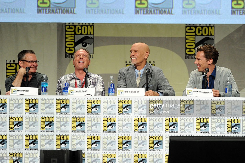 Directors Eric Darnell and Tom McGrath, actors John Malkovich and Benedict Cumberbatch attend the DreamWorks Animation presentation during Comic-Con International 2014 at the San Diego Convention Center on July 24, 2014 in San Diego, California.