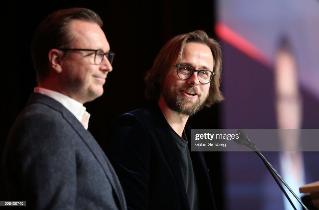 Directors Espen Sandberg (L) and Joachim Ronning, recipients of the International Filmmakers of the Year award for the movie 'Pirates of the Caribbean: Dead Men Tell No Tales,' speak during the International Day Lunch at CinemaCon at Caesars Palace on March 27, 2017 in Las Vegas, United States.