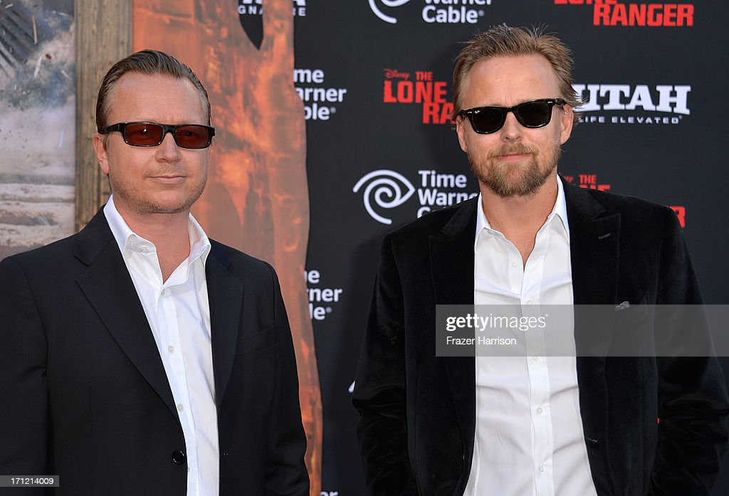 Directors Espen Sandbergha and Joachim Ronning arrive at the premiere of Walt Disney Pictures' 'The Lone Ranger' at Disney California Adventure Park on June 22, 2013 in Anaheim, California.