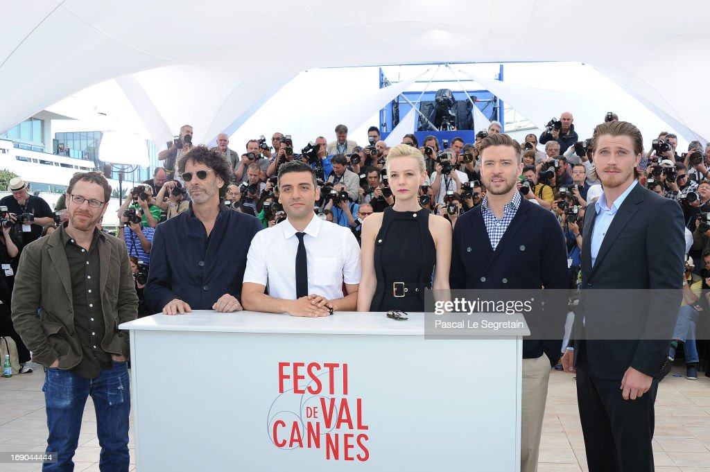 Directors Ethan Coen and Joel Coen, actor Oscar Isaac, actress Carey Mulligan, actor Justin Timberlake and Garrett Hedlund attend the 'Inside Llewyn Davis' photocall during the 66th Annual Cannes Film Festival at the Palais des Festivals on May 19, 2013 in Cannes, France.