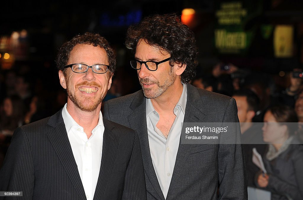 Directors <a gi-track='captionPersonalityLinkClicked' href=/galleries/search?phrase=Ethan+Coen&family=editorial&specificpeople=1130888 ng-click='$event.stopPropagation()'>Ethan Coen</a> (L) and <a gi-track='captionPersonalityLinkClicked' href=/galleries/search?phrase=Joel+Coen&family=editorial&specificpeople=4292064 ng-click='$event.stopPropagation()'>Joel Coen</a> attend the screening of 'A Serious Man' during The Times BFI London Film Festival at Vue West End on October 27, 2009 in London, England.