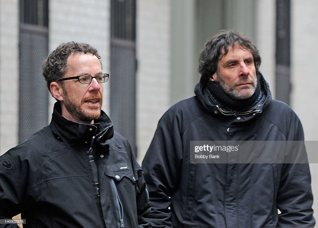 Directors <a gi-track='captionPersonalityLinkClicked' href=/galleries/search?phrase=Ethan+Coen&family=editorial&specificpeople=1130888 ng-click='$event.stopPropagation()'>Ethan Coen</a> and <a gi-track='captionPersonalityLinkClicked' href=/galleries/search?phrase=Joel+Coen&family=editorial&specificpeople=4292064 ng-click='$event.stopPropagation()'>Joel Coen</a> filming on location for 'Inside Llewyn Davis' on March 1, 2012 in New York City.