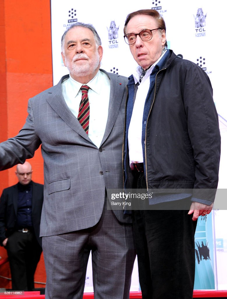 Directors <a gi-track='captionPersonalityLinkClicked' href=/galleries/search?phrase=Francis+Ford+Coppola&family=editorial&specificpeople=204241 ng-click='$event.stopPropagation()'>Francis Ford Coppola</a> and <a gi-track='captionPersonalityLinkClicked' href=/galleries/search?phrase=Peter+Bogdanovich&family=editorial&specificpeople=208149 ng-click='$event.stopPropagation()'>Peter Bogdanovich</a> attend <a gi-track='captionPersonalityLinkClicked' href=/galleries/search?phrase=Francis+Ford+Coppola&family=editorial&specificpeople=204241 ng-click='$event.stopPropagation()'>Francis Ford Coppola</a> Hand and Footprint Ceremony at TCL Chinese Theatre IMAX on April 29, 2016 in Hollywood, California.