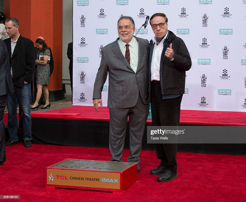 Directors <a gi-track='captionPersonalityLinkClicked' href=/galleries/search?phrase=Francis+Ford+Coppola&family=editorial&specificpeople=204241 ng-click='$event.stopPropagation()'>Francis Ford Coppola</a> (L) and <a gi-track='captionPersonalityLinkClicked' href=/galleries/search?phrase=Peter+Bogdanovich&family=editorial&specificpeople=208149 ng-click='$event.stopPropagation()'>Peter Bogdanovich</a> attend TCM Honors Academy Award winning filmmaker <a gi-track='captionPersonalityLinkClicked' href=/galleries/search?phrase=Francis+Ford+Coppola&family=editorial&specificpeople=204241 ng-click='$event.stopPropagation()'>Francis Ford Coppola</a> with a Hand and Footprint Ceremony at TCL Chinese Theatre IMAX on April 29, 2016 in Hollywood, California.