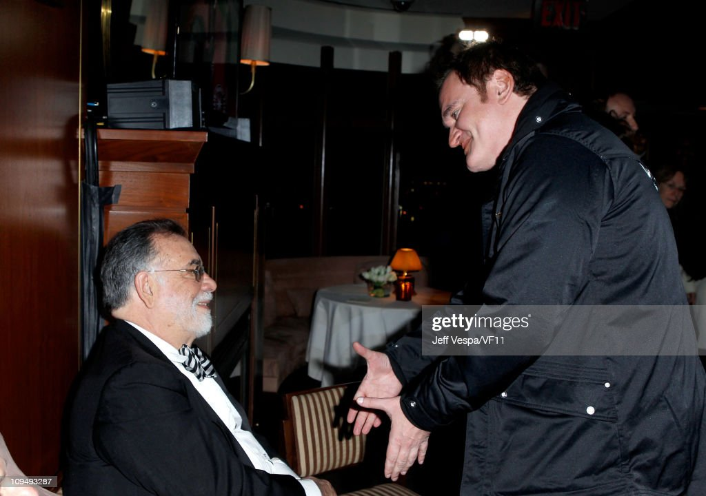 Directors <a gi-track='captionPersonalityLinkClicked' href=/galleries/search?phrase=Francis+Ford+Coppola&family=editorial&specificpeople=204241 ng-click='$event.stopPropagation()'>Francis Ford Coppola</a> (L) and <a gi-track='captionPersonalityLinkClicked' href=/galleries/search?phrase=Quentin+Tarantino&family=editorial&specificpeople=171796 ng-click='$event.stopPropagation()'>Quentin Tarantino</a> attend the 2011 Vanity Fair Oscar Party Hosted by Graydon Carter at the Sunset Tower Hotel on February 27, 2011 in West Hollywood, California.
