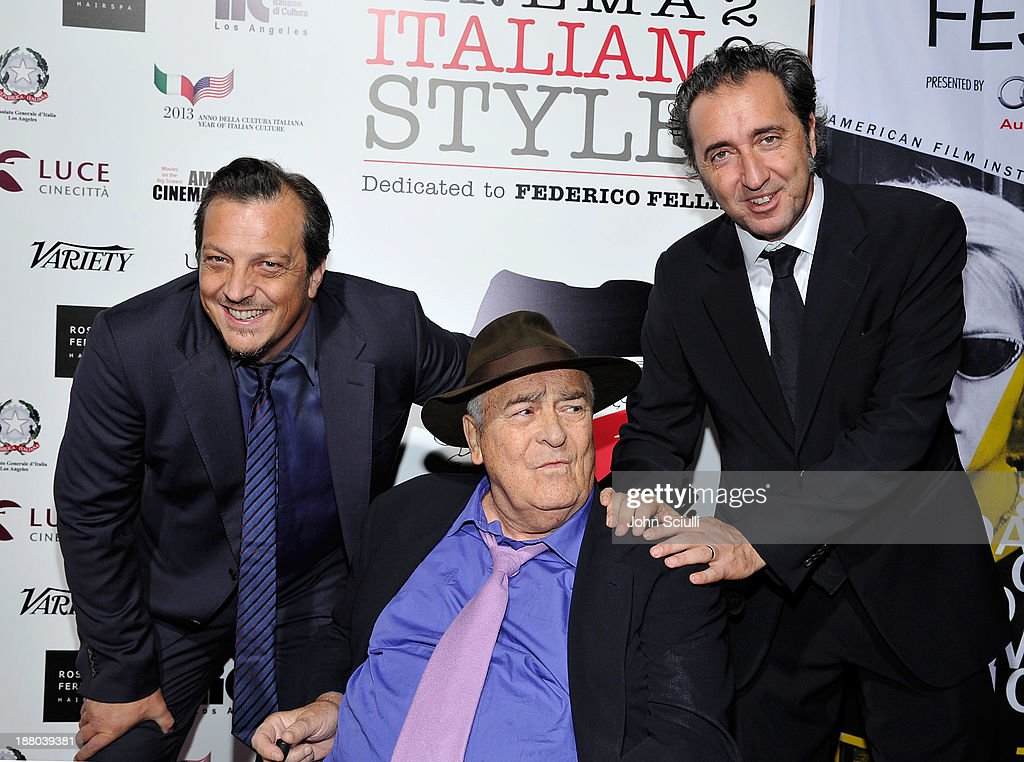 Directors Gabriele Muccino, Bernardo Bertolucci and Paolo Sorrentino attend Cinema Italian Style 2013 'The Great Beauty' opening night premiere at the Egyptian Theatre on November 14, 2013 in Hollywood, California.