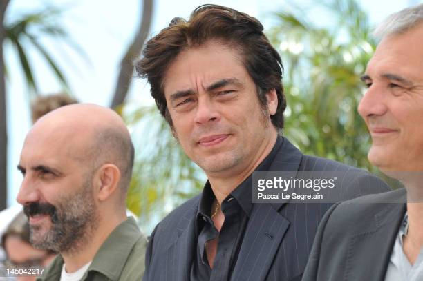 Directors Gaspar Noe Benicio Del Toro and Laurent Cantet attend the '7 Dias En La Habana' Photocall during the 65th Annual Cannes Film Festival at...