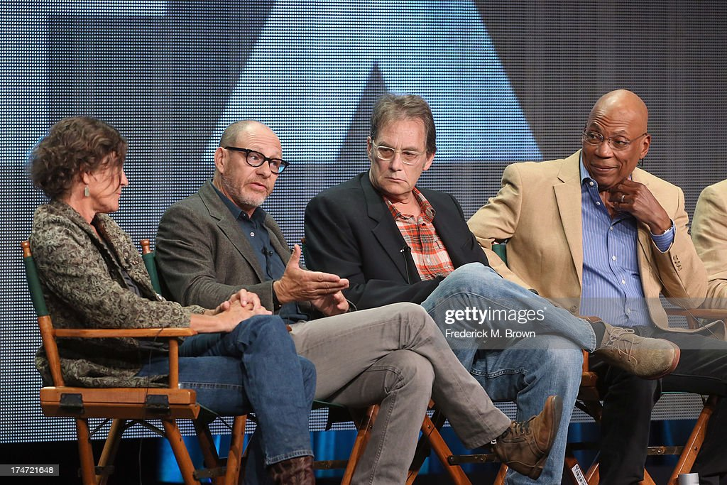 Directors Gwyneth Horder-Payton, Daniel Sackheim, Michael Dinner and Director and President of the Directors Guild of America Paris Barclay speak onstage during 'FX Directors' panel as part of the 2013 Summer Television Critics Association tour at the Beverly Hilton Hotel on July 28, 2013 in Beverly Hills, California.