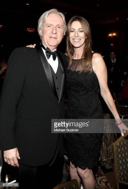 Directors James Cameron and Kathryn Bigelow attend the 2010 Writers Guild Awards held at the Hyatt Regency Century Plaza on February 20 2010 in...