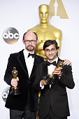 Directors James GayRees and Asif Kapadia winners of Best Documentary Feature 'Amy' pose in the press room during the 88th Annual Academy Awards at...