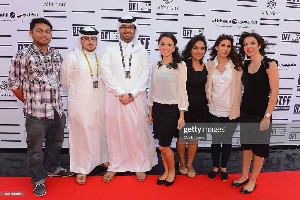 Directors Jan Xavier Pacle of Angels in June with director Ahmed Al Baker and Ali Al Ansari of Lockdown: Red Moon Escape and co-directors Rana Khaled,Melanie Fridgant,Shannon Farhoud and Ashlene Ramadan of 'Lyrics Revolt' attend and the Made In Qatar Press Conference at the Al Mirqab Hotel during the 2012 Doha Tribeca Film Festival on November 21, 2012 in Doha, Qatar.