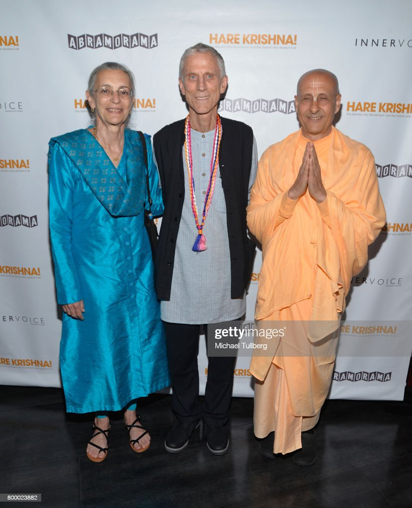 Directors Jean Griesser and John Griesser and Radhanath Swami attend a screening of Abramorama's 'Hare Krishna!: The Mantra, the Movement and the Swami Who Started It All' at Laemmle Monica Film Center on June 22, 2017 in Santa Monica, California.