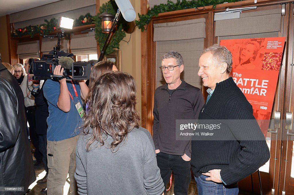 Directors Jeffrey Friedman and <a gi-track='captionPersonalityLinkClicked' href=/galleries/search?phrase=Rob+Epstein&family=editorial&specificpeople=2669345 ng-click='$event.stopPropagation()'>Rob Epstein</a> speak to reporters at the 'Fall To Grace' and 'The Battle Of AMFAR' Brunch hosted by HBO on January 18, 2013 in Park City, Utah.