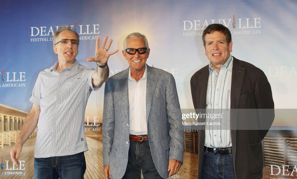 US directors Jerry Zucker, Jim Abrahams and David Zucker pose during the photocall for their tribute during the 35th Deauville Film Festival on September 8, 2009 in Deauville, France.