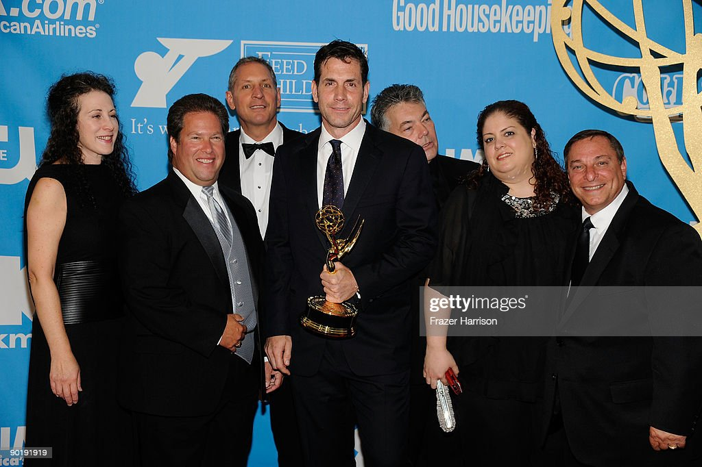 Directors Jill Mitwell, Bruce Cooperman, Gary Donatelli, Frank Valentini, Larry Carpenter, Jill Mitwell, Tracy Casper Lang and Alan Needleman accept the Outstanding Drama Series Directing Team award for 'One Life To Live' pose in the press room at the 36th Annual Daytime Emmy Awards at The Orpheum Theatre on August 30, 2009 in Los Angeles, California.
