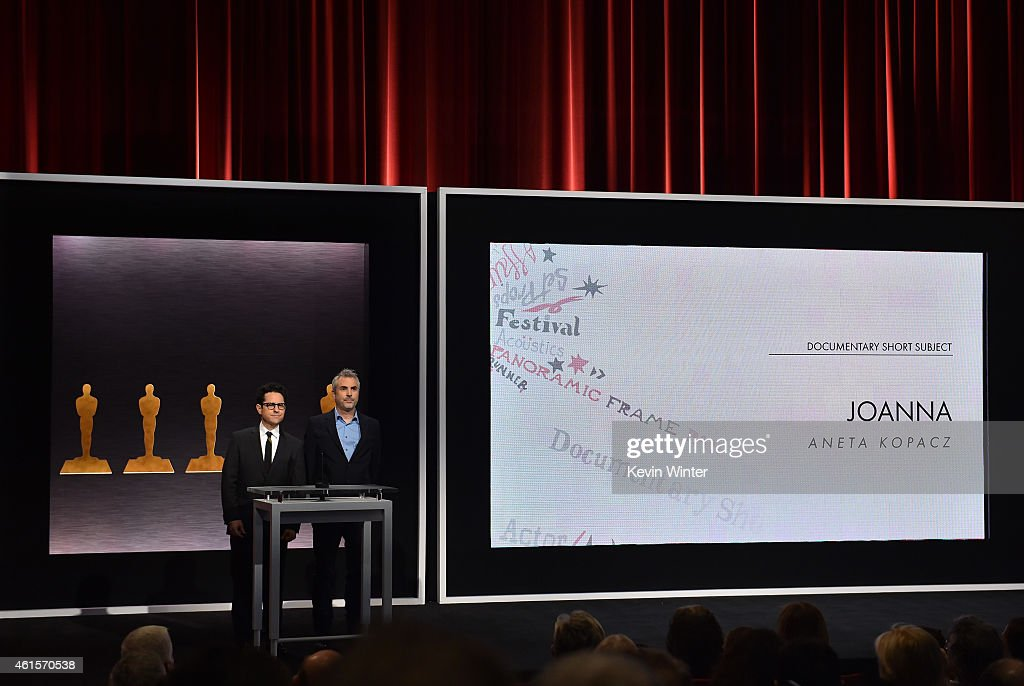 Directors JJ Abrams and Alfonso Cuaron announce the film 'Joanna' as a nominee for Best Documentary Short Subject during the 87th Academy Awards...