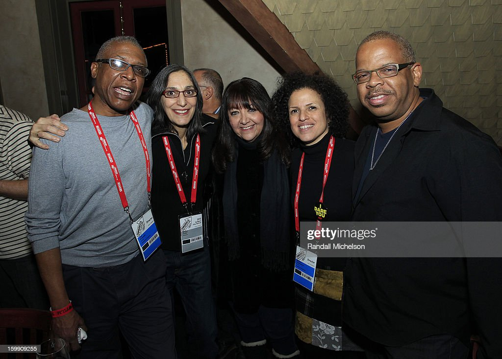 Directors Joe Brewster and Miriam Cutler, BMI Executive Doreen Ringer-Ross, director Michele Stephenson and composer <a gi-track='captionPersonalityLinkClicked' href=/galleries/search?phrase=Terence+Blanchard&family=editorial&specificpeople=3210514 ng-click='$event.stopPropagation()'>Terence Blanchard</a> attend the BMI Sundance Dinner at Zoom Restaurant on January 22, 2013 in Park City, Utah.