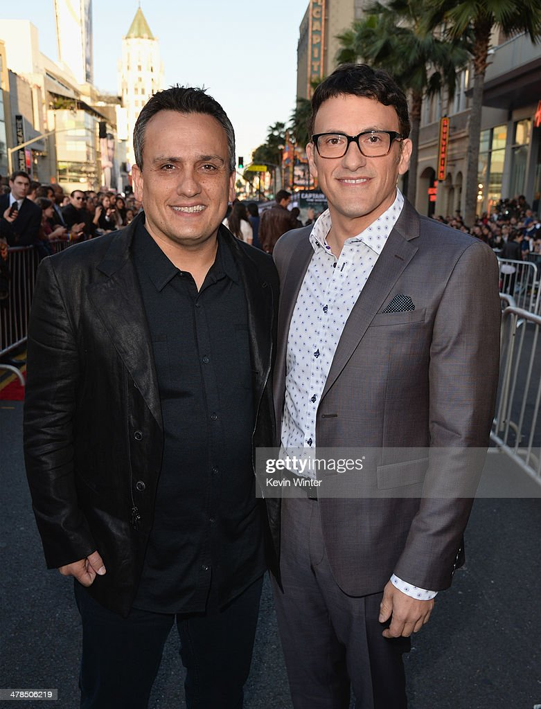 Directors <a gi-track='captionPersonalityLinkClicked' href=/galleries/search?phrase=Joe+Russo+-+Director&family=editorial&specificpeople=14327733 ng-click='$event.stopPropagation()'>Joe Russo</a> and Anthony Russo attend the premiere of Marvel's 'Captain America: The Winter Soldier' at the El Capitan Theatre on March 13, 2014 in Hollywood, California.