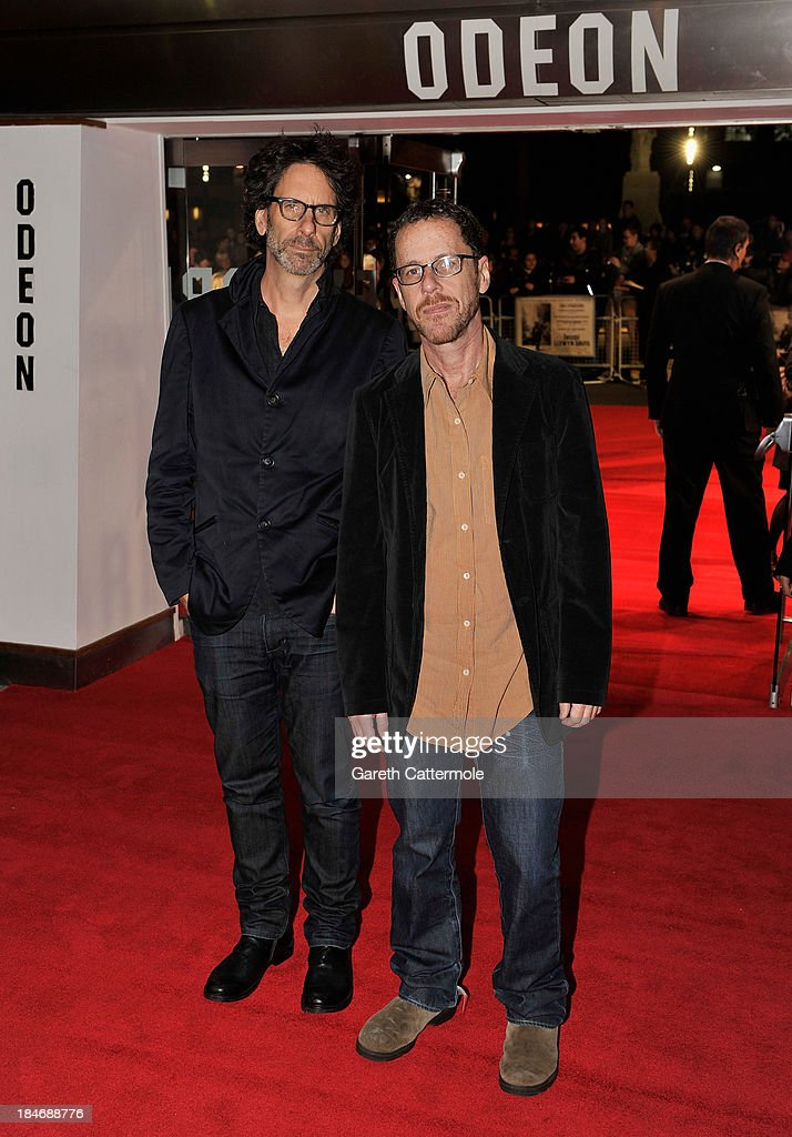 Directors Joel (L) and <a gi-track='captionPersonalityLinkClicked' href=/galleries/search?phrase=Ethan+Coen&family=editorial&specificpeople=1130888 ng-click='$event.stopPropagation()'>Ethan Coen</a> attend the 'Inside Llewyn Davis' Centrepiece Gala Supported By The Mayor Of London screening during the 57th BFI London Film Festival at Odeon Leicester Square on October 15, 2013 in London, England.