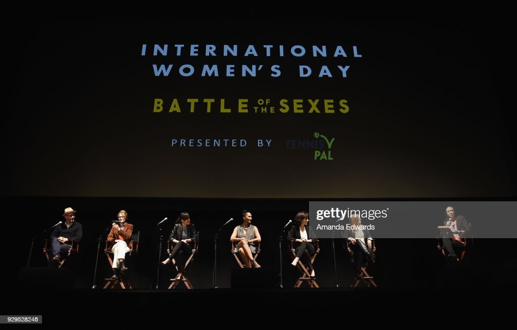 Directors Jonathan Dayton and Valerie Faris, actress Natalie Morales, Los Angeles Sparks President and COO Christine Simmons, UCLA Women's Gymnastics team head coach Valorie Kondos Field, Executive Vice President of Content Strategy and Partnerships at Endeavor Karen Brodkin and former professional soccer player Angela Hucles attend The Wiltern's Women's Day Celebration screening and panel for 'Battle of the Sexes' at The Wiltern on March 8, 2018 in Los Angeles, California.