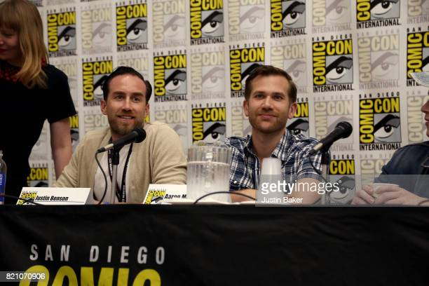 Directors Justin Benson and Aaron Moorhead attend the Bold Voice of Contemporary Horror Panel at the 2017 ComicCon International on July 22 2017 in...