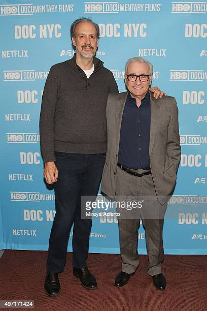 Directors Kent Jones and Martin Scorsese attend DOC NYC Screening of 'Hitchcock/Truffaut' at Chelsea Bow Tie Cinemas on November 14 2015 in New York...