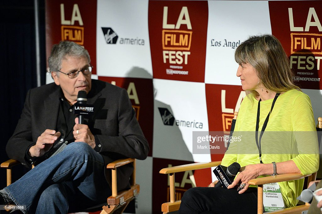 Directors Lawrence Kasdan (L) and Catherine Hardwicke speak during the Director's coffee talks during the 2012 Los Angeles Film Festival at Regal Cinemas L.A. Live on June 17, 2012 in Los Angeles, California.