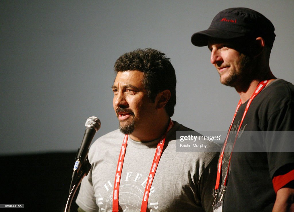 Directors Louis Sutherland (L) and Mark Albiston speak onstage during the 'Shopping' premiere at Egyptian Theatre during the 2013 Sundance Film Festival on January 18, 2013 in Park City, Utah.
