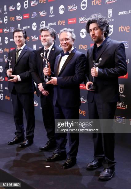 Directors Mariano Cohn and Gaston Duprat actor Oscar Martinez and writer Andres Drupat are seen at Platino Awards winners press room at La Caja...
