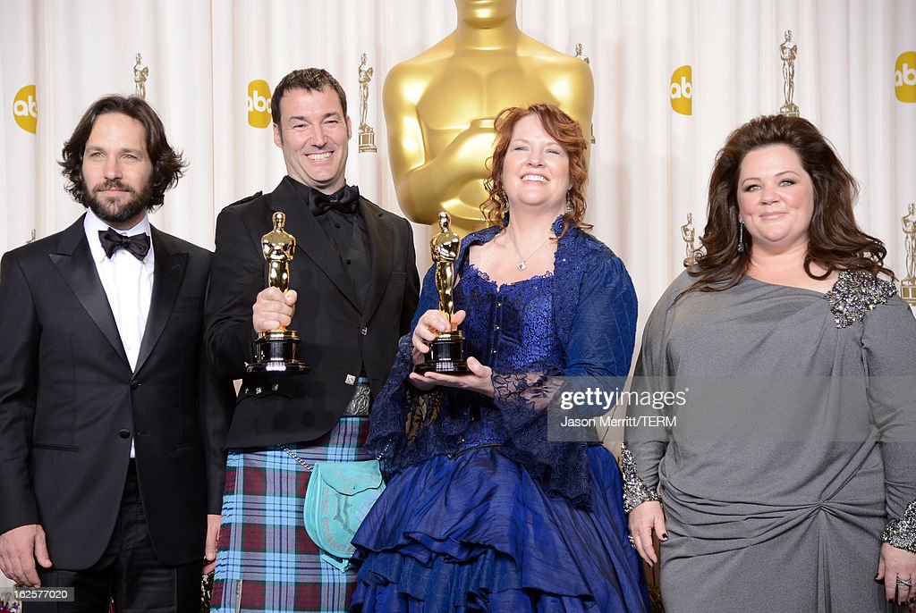 Directors Mark Andrews (2nd L) and <a gi-track='captionPersonalityLinkClicked' href=/galleries/search?phrase=Brenda+Chapman&family=editorial&specificpeople=5707596 ng-click='$event.stopPropagation()'>Brenda Chapman</a> (2nd R), winners of the Best Animated Feature award for 'Brave,' with presenters <a gi-track='captionPersonalityLinkClicked' href=/galleries/search?phrase=Paul+Rudd&family=editorial&specificpeople=209014 ng-click='$event.stopPropagation()'>Paul Rudd</a> (L) and <a gi-track='captionPersonalityLinkClicked' href=/galleries/search?phrase=Melissa+McCarthy&family=editorial&specificpeople=880291 ng-click='$event.stopPropagation()'>Melissa McCarthy</a> (R), pose in the press room during the Oscars held at Loews Hollywood Hotel on February 24, 2013 in Hollywood, California.