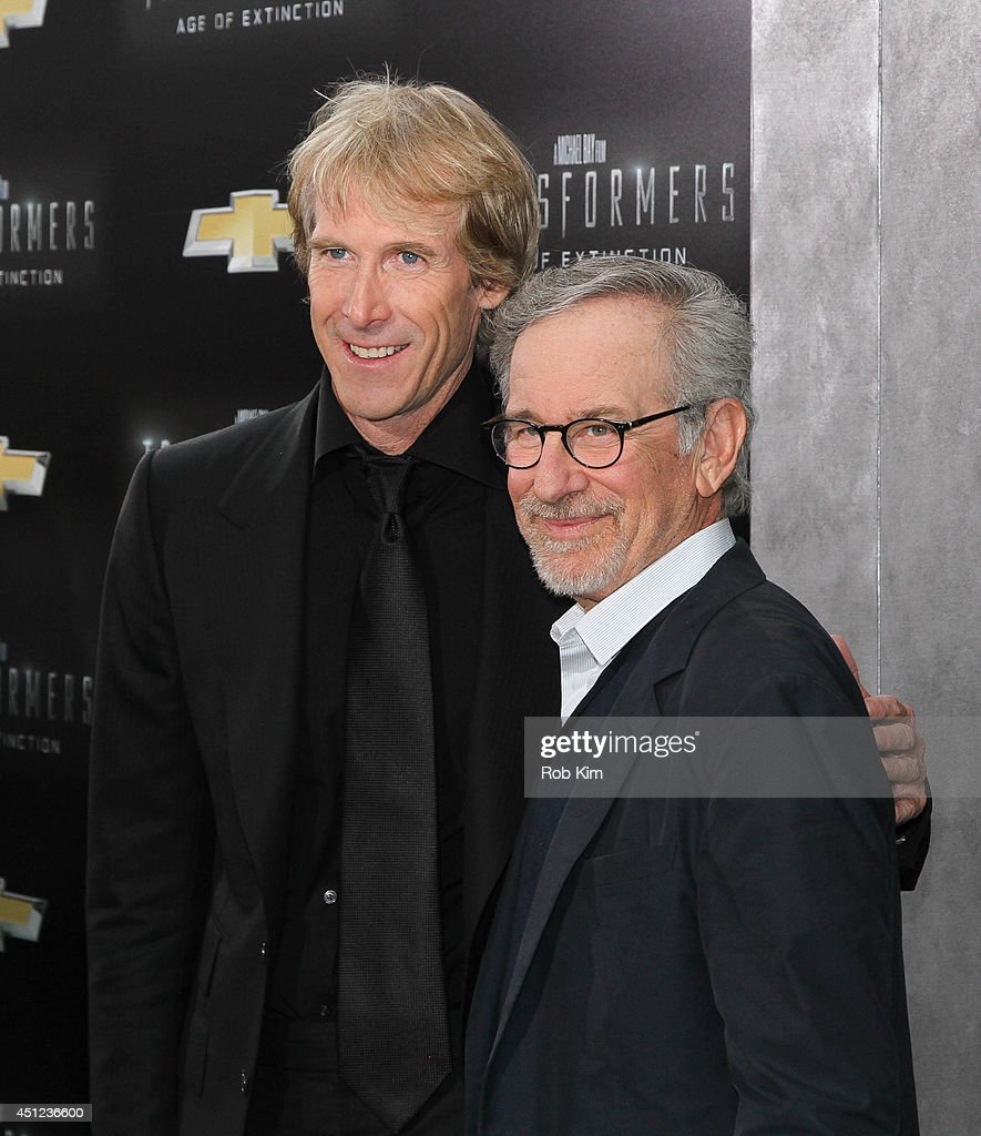 Directors <a gi-track='captionPersonalityLinkClicked' href=/galleries/search?phrase=Michael+Bay&family=editorial&specificpeople=240532 ng-click='$event.stopPropagation()'>Michael Bay</a> and <a gi-track='captionPersonalityLinkClicked' href=/galleries/search?phrase=Steven+Spielberg&family=editorial&specificpeople=202022 ng-click='$event.stopPropagation()'>Steven Spielberg</a> attend 'Transformers: Age Of Extinction' New York Premiere at Ziegfeld Theater on June 25, 2014 in New York City.