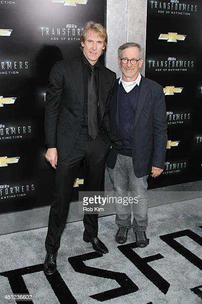 Directors Michael Bay and Steven Spielberg attend 'Transformers Age Of Extinction' New York Premiere at Ziegfeld Theater on June 25 2014 in New York...