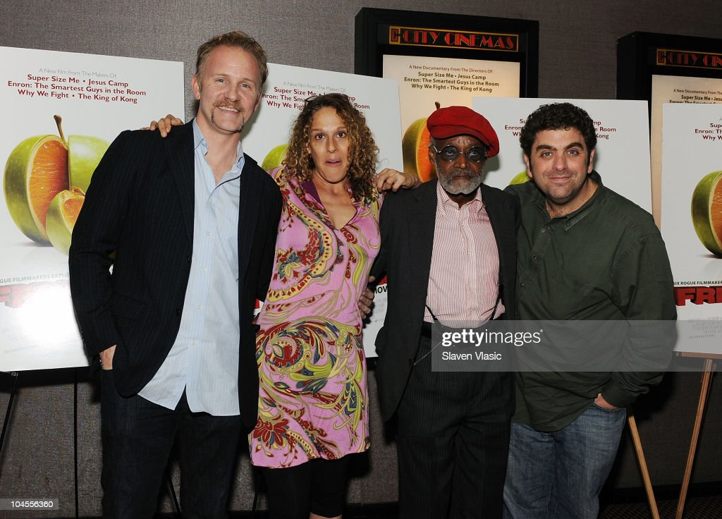 Directors Morgan Spurlock, Rachel Grady, Melvin Van Peebles and Eugene Jarecki attend the 'Freakonomics' premiere at Cinema 2 on September 29, 2010 in New York City.