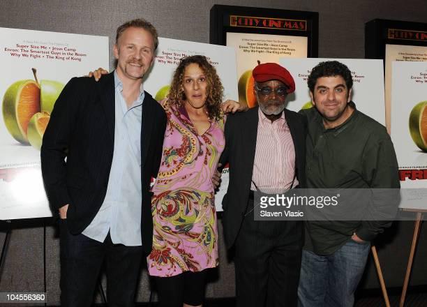 Directors Morgan Spurlock Rachel Grady Melvin Van Peebles and Eugene Jarecki attend the 'Freakonomics' premiere at Cinema 2 on September 29 2010 in...