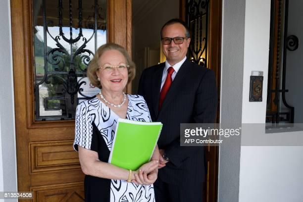 Directors of the Switzerland's last finishing school Institut Villa Pierrefeu Viviane and her son Philippe Neri pose on June 26 2017 in Glion Eight...