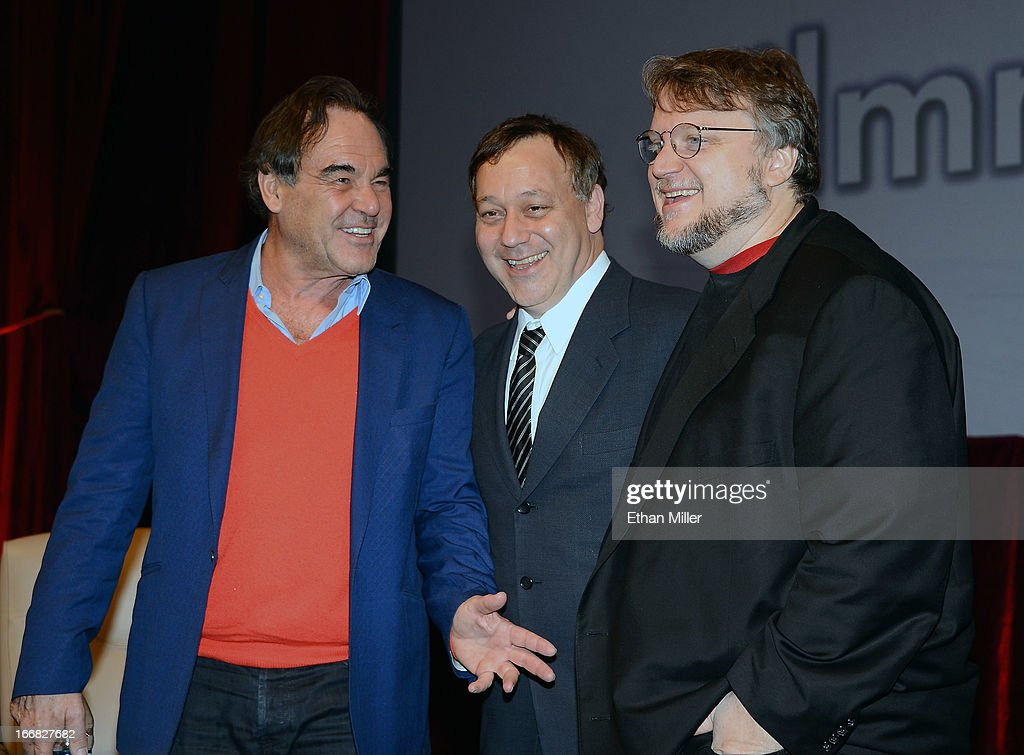 Directors <a gi-track='captionPersonalityLinkClicked' href=/galleries/search?phrase=Oliver+Stone&family=editorial&specificpeople=173458 ng-click='$event.stopPropagation()'>Oliver Stone</a>, <a gi-track='captionPersonalityLinkClicked' href=/galleries/search?phrase=Sam+Raimi&family=editorial&specificpeople=215417 ng-click='$event.stopPropagation()'>Sam Raimi</a> and <a gi-track='captionPersonalityLinkClicked' href=/galleries/search?phrase=Guillermo+del+Toro&family=editorial&specificpeople=609181 ng-click='$event.stopPropagation()'>Guillermo del Toro</a> pose after speaking at a filmmakers' roundtable at Caesars Palace during CinemaCon, the official convention of the National Association of Theatre Owners, on April 17, 2013 in Las Vegas, Nevada.