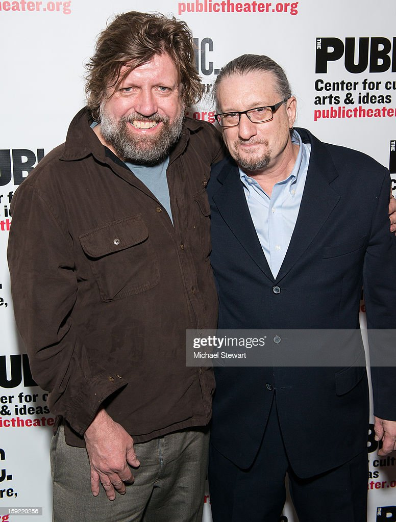 Directors <a gi-track='captionPersonalityLinkClicked' href=/galleries/search?phrase=Oskar+Eustis&family=editorial&specificpeople=559040 ng-click='$event.stopPropagation()'>Oskar Eustis</a> (L) and Mark Russell attends the Under The Radar Festival 2013 Opening Night Celebration at The Public Theater on January 9, 2013 in New York City.