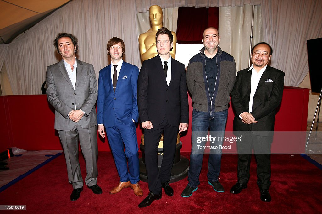 Directors Paolo Sorrentino Felix Van Groeningen Thomas Vinterberg Hany AbuAssad and Rithy Panh attend the 86th Annual Academy Awards FLFA photo op...