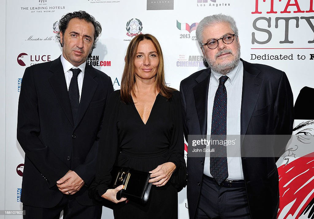 Directors Paolo Sorrentino, Maria Sole Tognazzi and Roberto Ando attend Cinema Italian Style 2013 'The Great Beauty' opening night premiere at the Egyptian Theatre on November 14, 2013 in Hollywood, California.