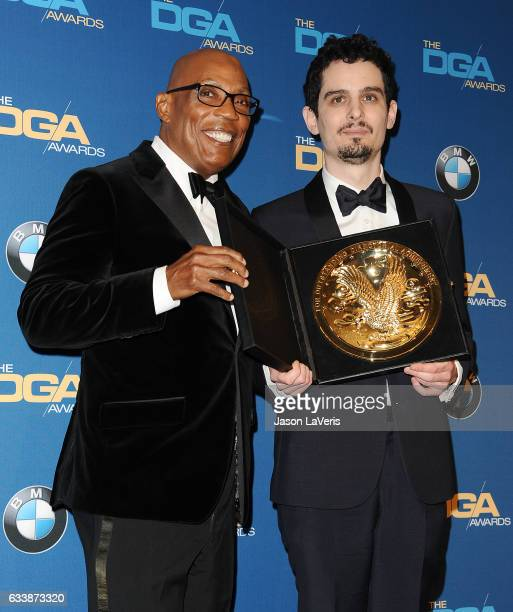 Directors Paris Barclay and Damien Chazelle pose in the press room at the 69th annual Directors Guild of America Awards at The Beverly Hilton Hotel...