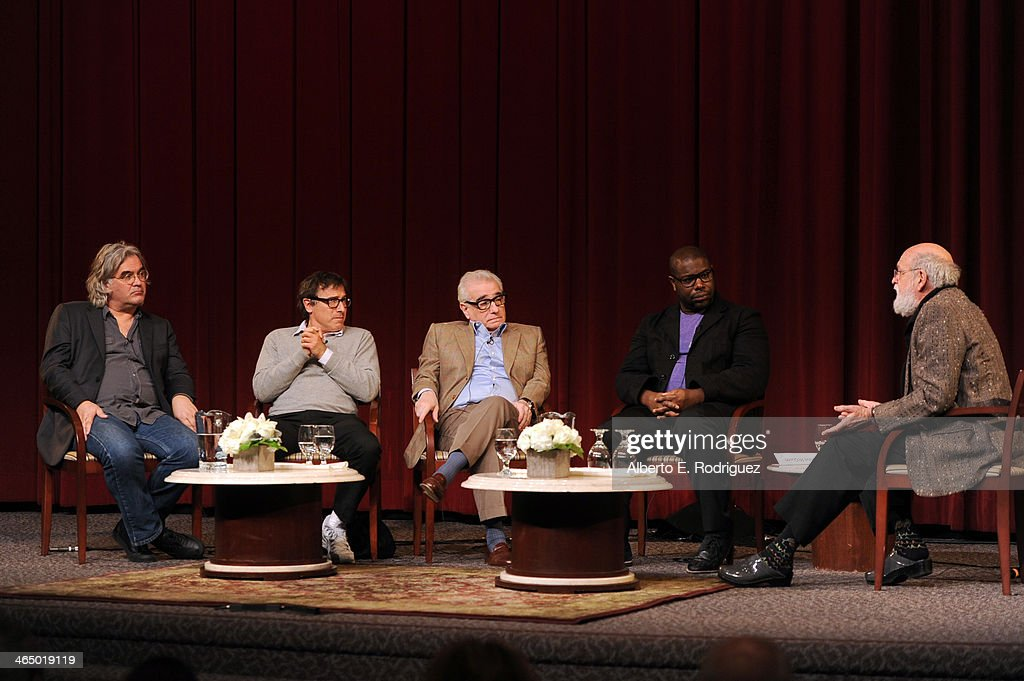 Directors Paul Greengrass David O Russell Martin Scorsese Steve McQueen and panel moderator Jeremy Kagan speak onstage at the 66th Annual Directors...