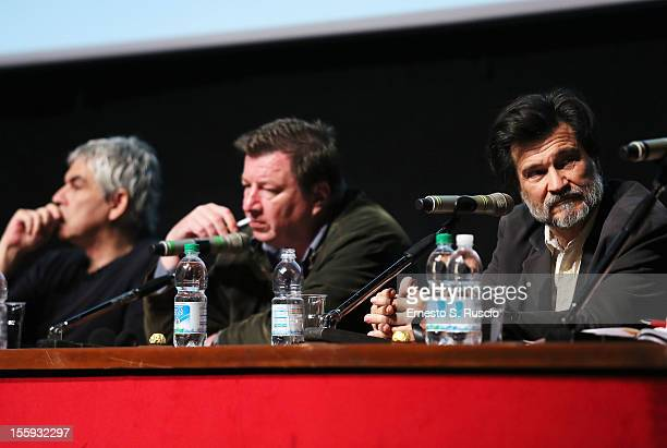 Directors Pedro Costa Aki Kaurismaki and Victor Erice attends 'Centro Historico' Press Conference during The 7th Rome Film Festival at Sala Petrassi...