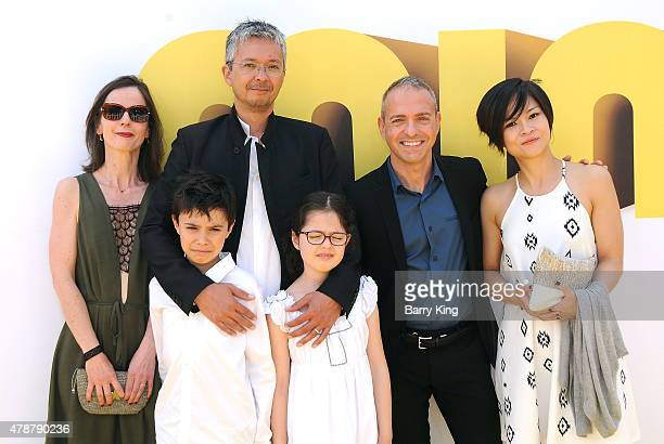 Directors Pierre Coffin and Kyle Balda and their families attend the Premiere of Universal Pictures and Illumination Entertainment's 'Minions' at the...