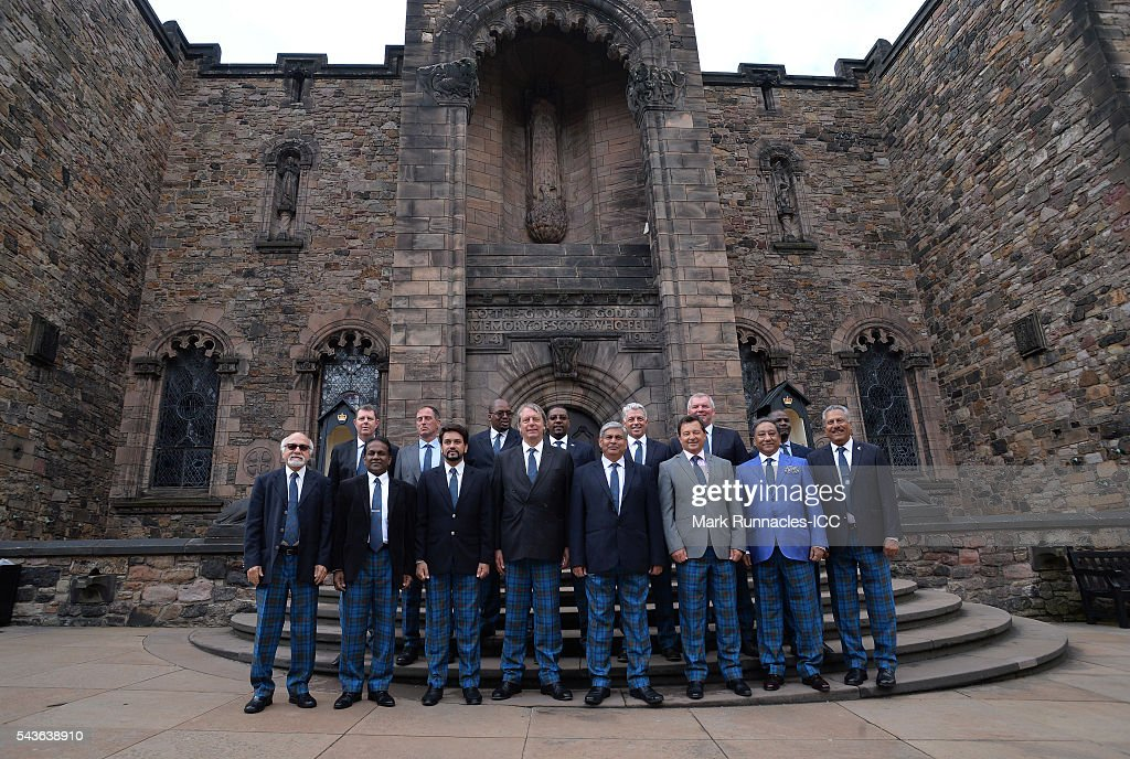 ICC Directors pose for a photograph at the Scottish National War Memorial at Edinburgh Castle on June 29, 2016 in Edinburgh, Scotland.